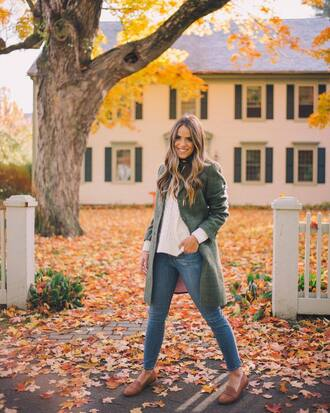 coat white sweater tumblr green coat sweater denim jeans blue jeans skinny jeans flats fall outfits