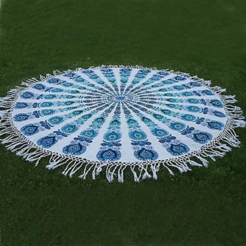 Tassel Fringe Turquoise Round Mandala Beach Tapestry