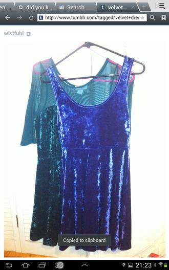 dress tumblr velvet velvet dress teal blue lush