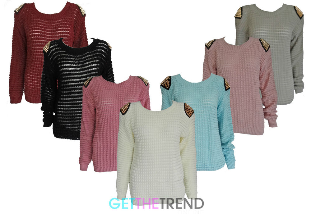 Womens Spike Knitted Jumper Ladies Long Sleeve Spikes Studded Knit Jumper Top | eBay