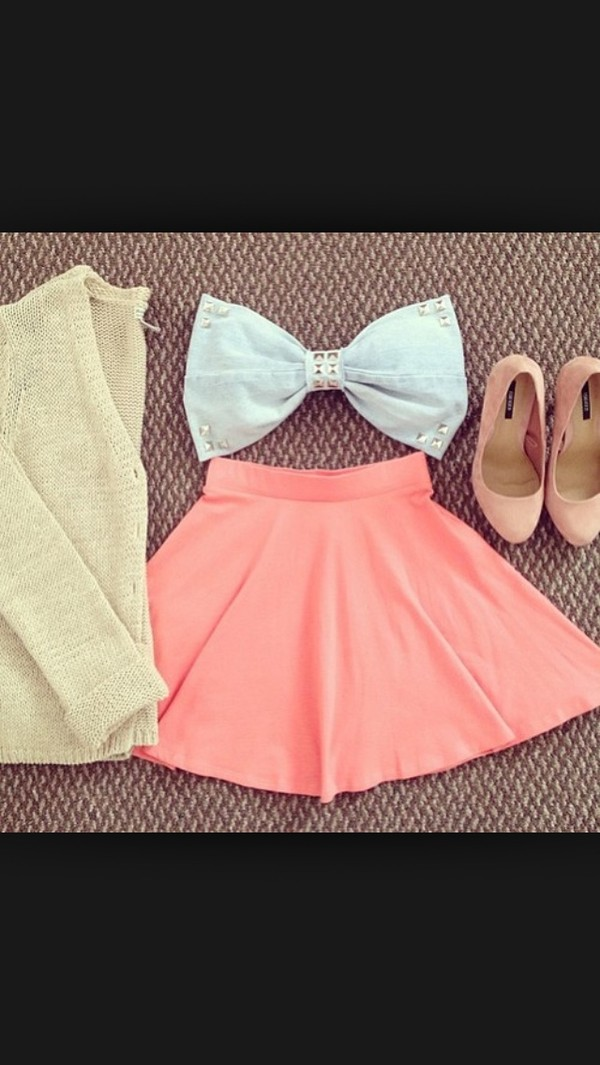 shirt skirt pink blue shirt cardigan shoes summer cute spring spring outfits studs bandeau bandeau top skater skirt pumps coat pink skirt white crop tops