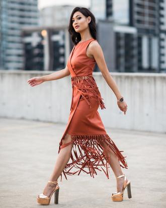 micah gianneli blogger crop tops fringe skirt wrap skirt orange gold shoes platform heels