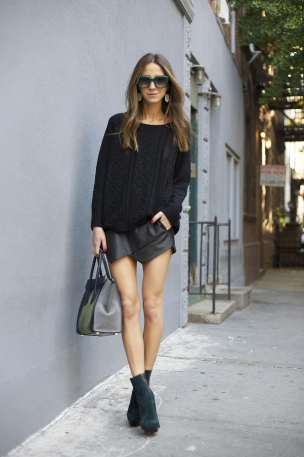 something navy sweater shoes skirt sunglasses bag