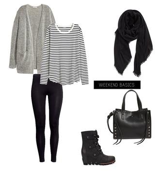 lauren loves blogger cardigan leggings scarf bag shoes striped top grey cardigan handbag boots