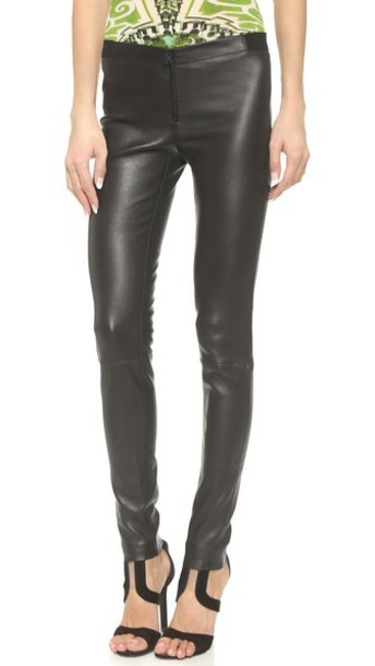 alice + olivia Alice + Olivia Zip Front Leather Leggings - Black