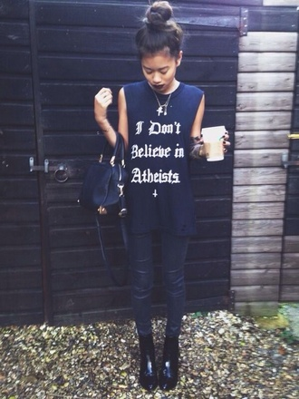 shirt atheist dope all black everything tank top t-shirt black grunge pants boots