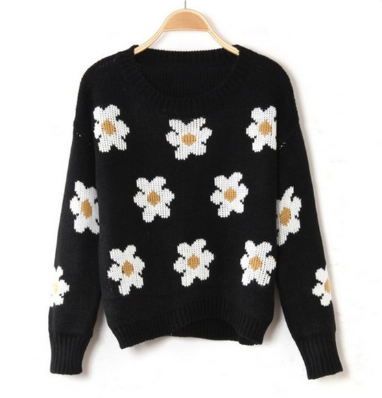 sweater knit tumblr cute daisy