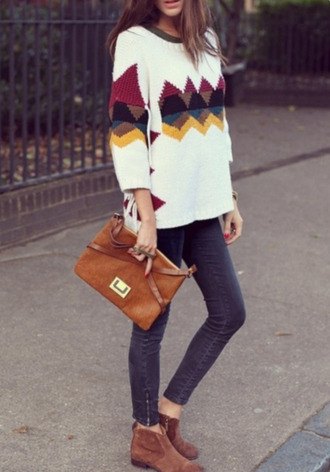 sweater cream fall outfits fall colors white triangle skinny pants booties shoes brown black burgundy yellow blue winter sweater black sweater