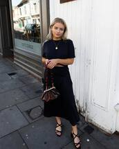 bag,crossbody bag,vinyl,flat sandals,sandals,midi skirt,black skirt,cropped t-shirt,black t-shirt,chain necklace