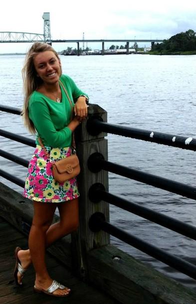 skirt clothes preppy shirt cheveron green shirt flower skirt
