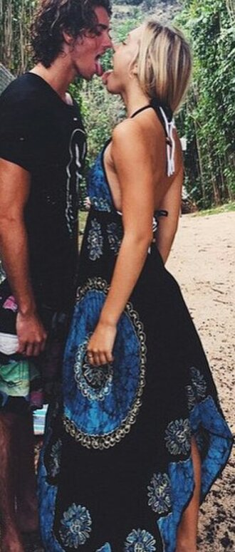 dress alexis ren blue boho chic summer dress beach jay alvarrez patterned dress black white floral halter dress tie dye