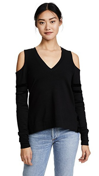 sweatshirt cold black velvet sweater