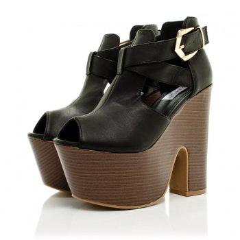 Buy debussy demi heeled platform ankle boots black leather style online