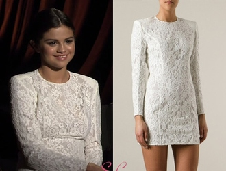 jacket dress white dress lace dress mini dress selena gomez