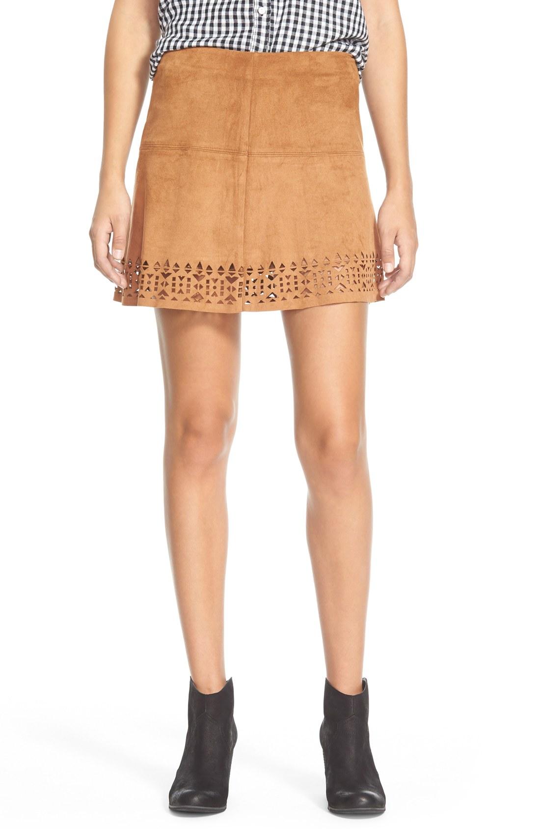 Laser Cut Faux Suede Skirt (Juniors) | Nordstrom