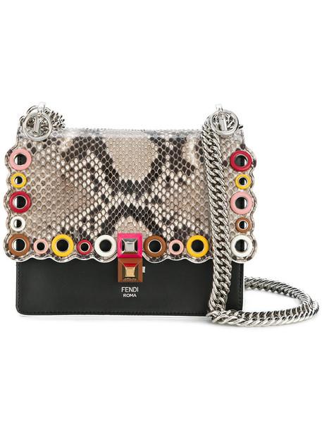 Fendi women python bag leather black