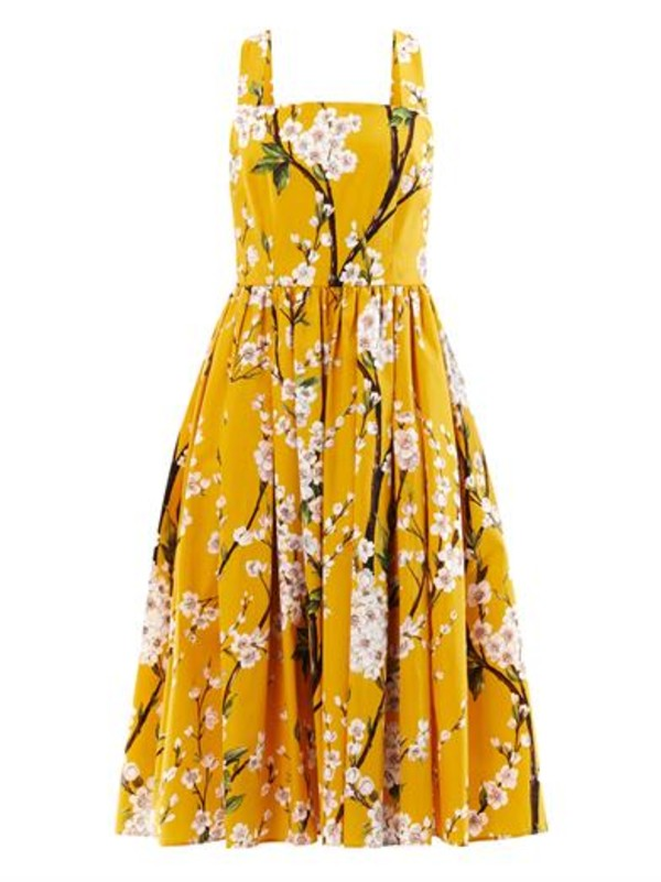 dress dolce and gabbana almond blossom-print sun dress floral yellow