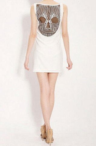 Skull Lace Mesh Open-Back Tank Dress White | VINTAGEHORDES