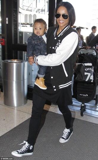 ciara black and white black jacket aviator sunglasses black top black jeans converse