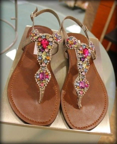 shoes flat sandals fashion sandals summer gorgeous girly love it elegant jewels