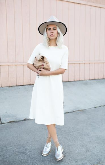 silver blogger bag always judging hat white dress derbies
