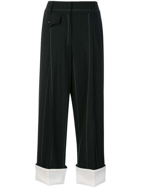 Maison Flaneur cropped women spandex black wool pants