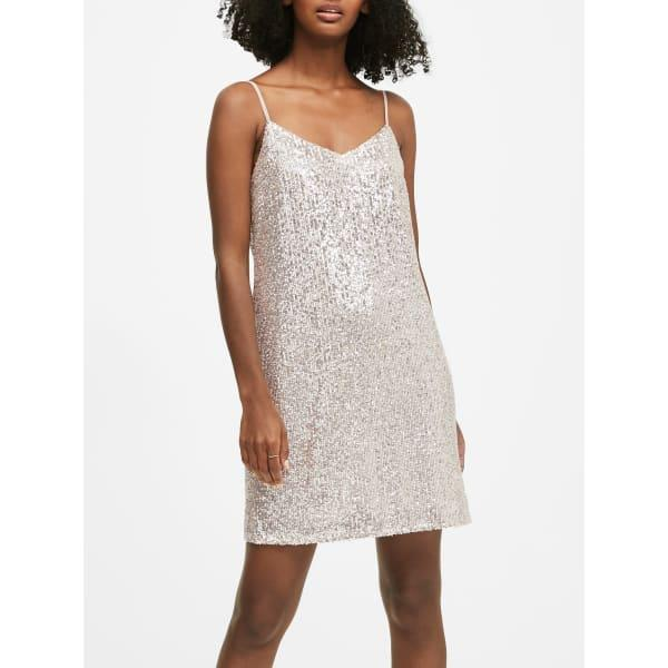 Banana Republic Women's Petite Sequin Slip Dress Champagne Silver Sequin Petite Size 6