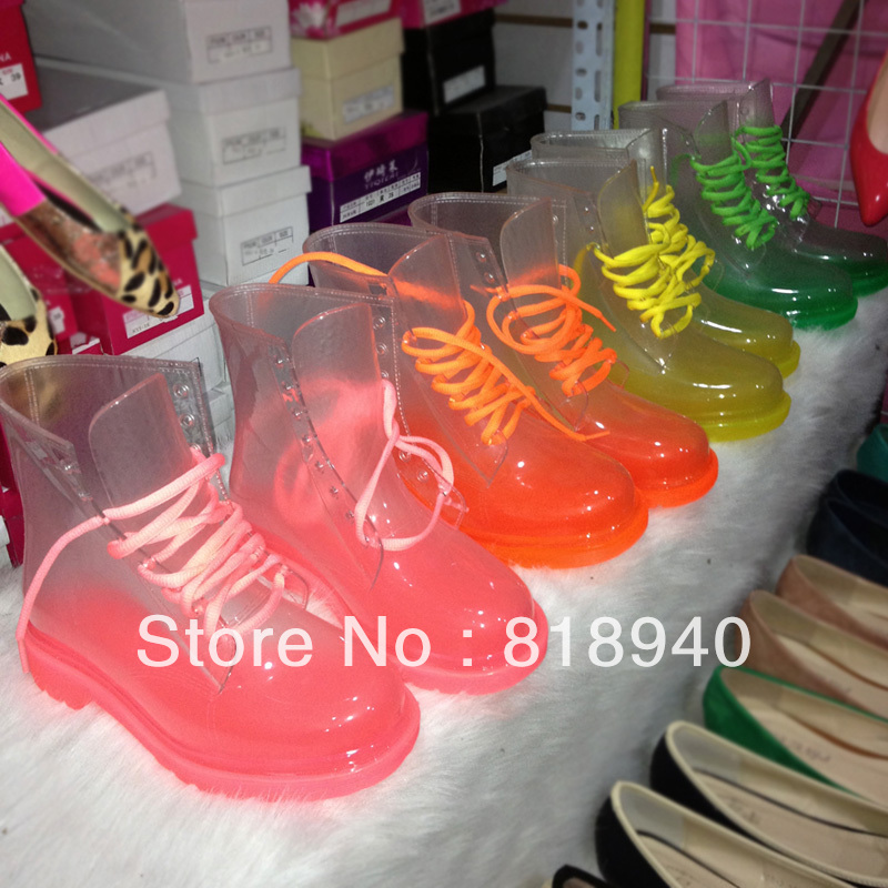 Women Transparent Rain Boots Neon Lace Up Jelly Clear Crystal See through Candy Color-in Boots from Shoes on Aliexpress.com