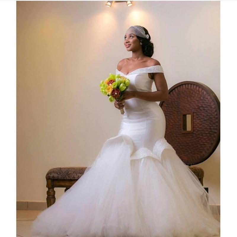 2016 plus size african mermaid wedding dresses aso ebi for Plus size african wedding dresses