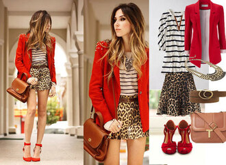 jacket blazer red leopard print mariniere top jewelry skirt shoes