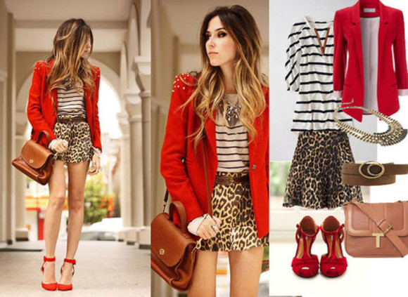 mariniere jewels shoes jacket blazer red leopard print top skirt