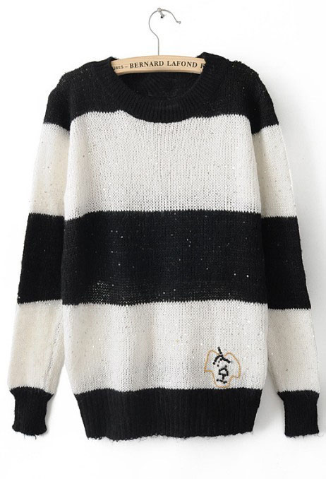 White Striped Long Sleeve Pullovers Sweater - Sheinside.com