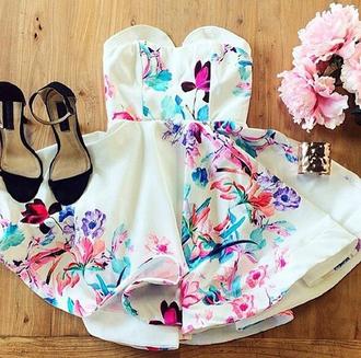 dress haute rogue summer dress skater dress strapless dress white dress floral dress