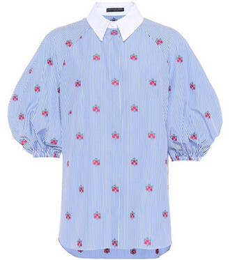 blouse embroidered floral cotton blue top