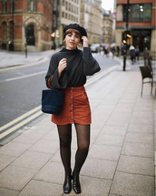 skirt,tumblr,mini,mini skirt,button up,button up skirt,sweater,grey sweater,beret,tights,boots,black boots,bag,blue bag
