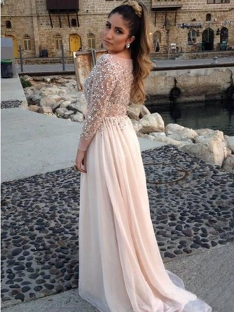 dress a-line scoop long sleeves chiffon sequins beading elie saab floor length