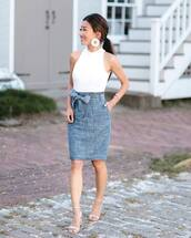top,tumblr,white top,sleeveless,sleeveless top,skirt,midi skirt,denim,denim skirt,earrings,accessories,Accessory,sandals,sandal heels,high heel sandals,jewels