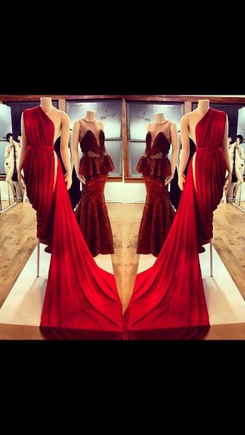 dress Michael Costello red prom dress