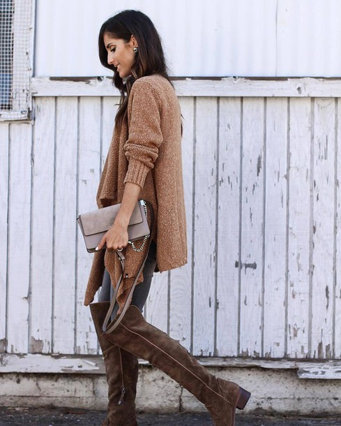 9e7e5e37615 cardigan tumblr camel bag nude bag boots brown boots over the knee boots  flat boots jeans