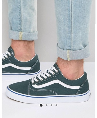 shoes vans green old skool style white blue