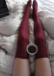 underwear,over the knee socks,burgundy,socks,burgundy socks,knee high socks,legs