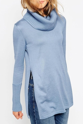 sweater baby blue long sleeves turtleneck