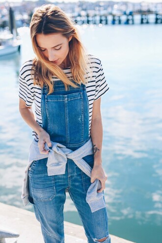 prosecco and plaid blogger t-shirt shoes denim overalls striped shirt jumpsuit denim casual spring overalls striped t-shirt spring outfits
