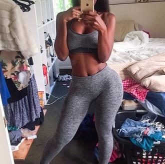 tights grey gym black sports bra sports leggings workout leggings leggings top