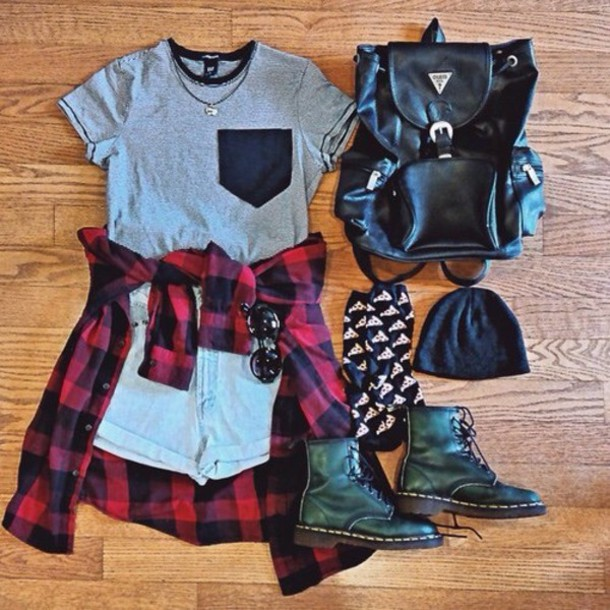 t-shirt shorts blouse bag socks