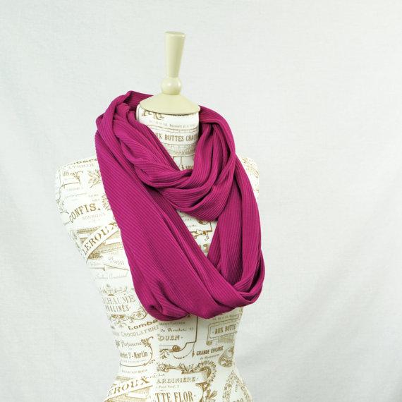 Pink Infinity Scarf Fuchsia Sweater Knit Circle Berry Womens Fashion Accessory