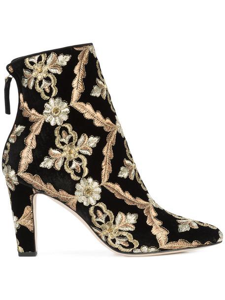 Manolo Blahnik embroidered women leather black velvet shoes