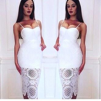 dress white lace cut-out dress wots-hot-right-now bandage dress bustier dress