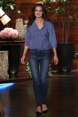 jeans shoes denim shirt katie holmes