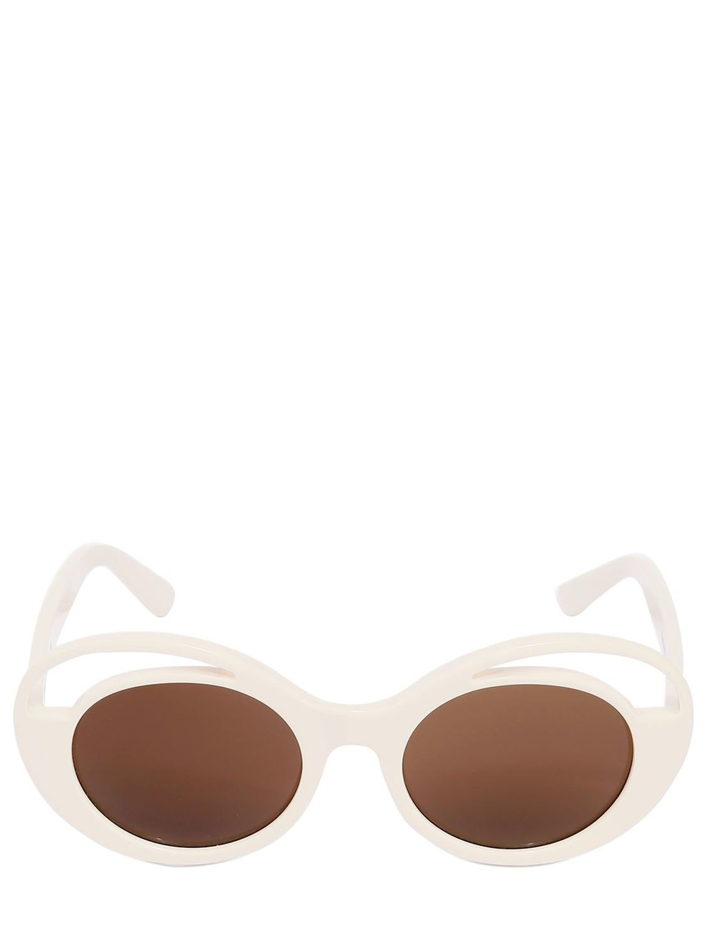 KYME Round Acetate Sunglasses in brown / white